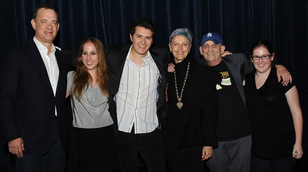 Tom Hanks with founder Liz Yale, festival directors Jon Haile and Lauren Bailey, and faculty advisers Cheri Gaulke and Ted Walch.