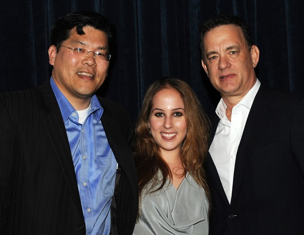 HW Chief Advancement Officer Ed Hu, founder Liz Yale and Tom Hanks.