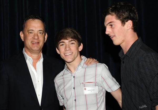 """Untouchable"" directors Justin Levine and Jack Heston with Tom Hanks."