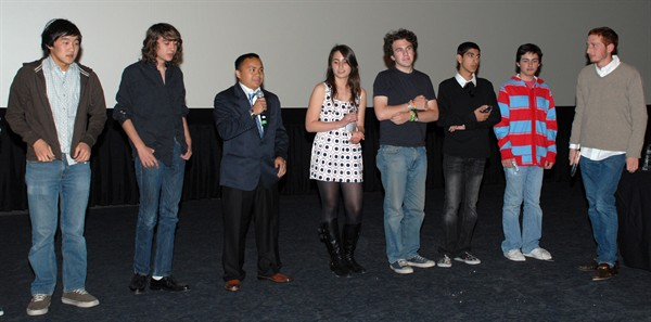 Student filmmakers are introduced after the screening.