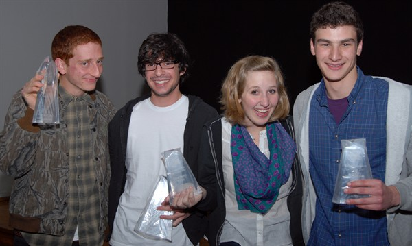 """Ticklish"" directors Drew Foster and Max Grey with their actors Chloe Searcy and Justin Kuritzkes."