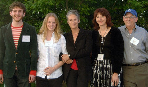 Festival directors Max Freedman and Cathy Pitoun, speaker Jamie Lee Curtis, and advisers Cheri Gaulke and Ted Walch.