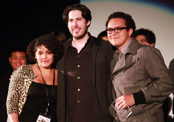 """Break Away"" writer Guadalupe Garcia and director Franchesco Ramos with Jason Reitman."