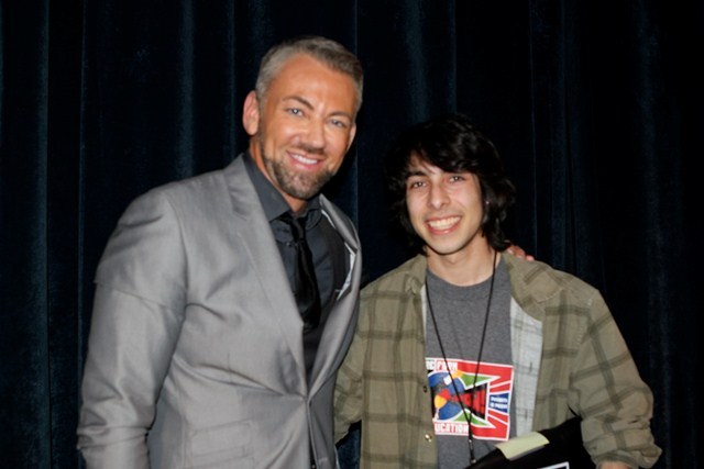 "Benjamin Morgan of New York Film Academy with ""How to Disappear Completely"" director Cesar Cervantes from Bell High School."