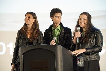 Film Festival Directors Rebecca Moretti, Patric Verrone, and Natalie Markiles welcome the audience.