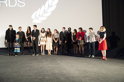 Filmmakers introduce themselves after the show.