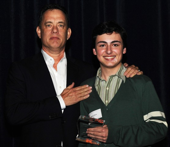 """Tom Hanks with """"Arterial Deposition in Thought and Being"""" director Mason Shefa."""