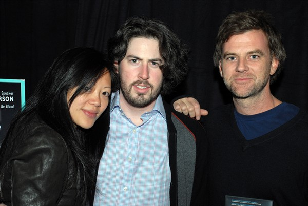 Michelle Reitman, judge Jason Reitman and speaker Paul Thomas Anderson at the reception.