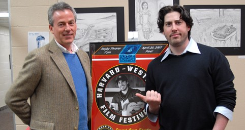 Poster designer Kevin O'Malley and his former student Jason Reitman '95.