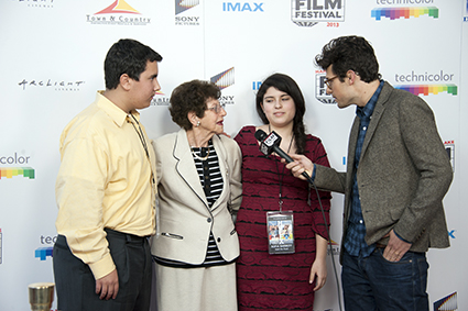 The Seek the Truth creative team including Purag Moumdjian, Holocaust survivor Helen Freeman, and Sofia Barrett are interviewed by Jacob Soboroff.