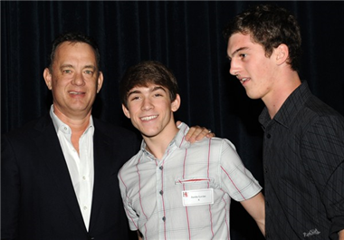 """Untouchable"" directors Justin Levine and Jack Heston with Tom Hanks."