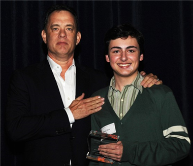 "Tom Hanks with ""Arterial Deposition in Thought and Being"" director Mason Shefa."