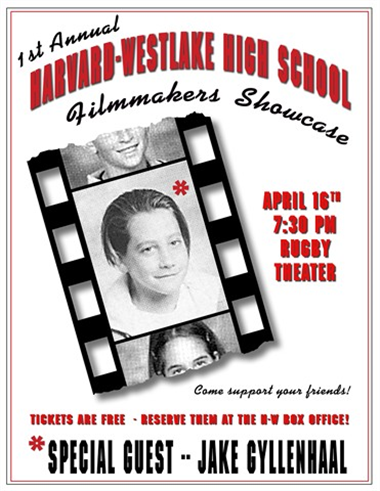 2004 festival poster designed by Kevin O'Malley with Jake Gyllenhaal's 7th grade Harvard-Westlake ID photo.