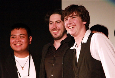 """Edward the Eraser"" directors Joe Caedo and Conor Gould with Jason Reitman."
